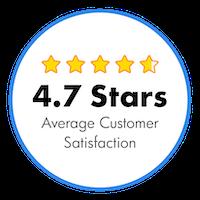 4.7 Stars Average Customer Satisfaction